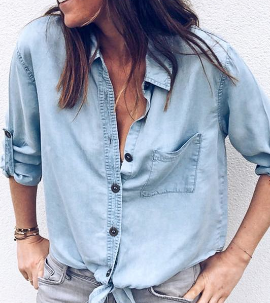 Light Denim Front Top