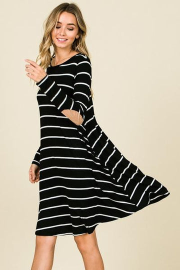 Striped Elbow Patch Long Sleeve Dress