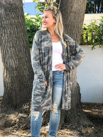 Brushed Camo Print Cardigan