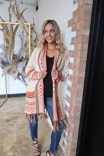 Oatmeal and Fringe Tribal Cardigan-3