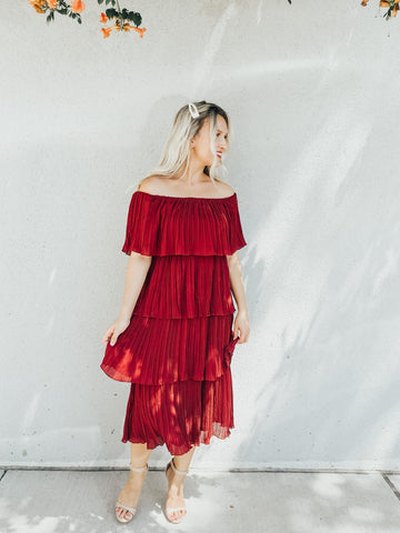 Burgundy Pleated Tiered Dress