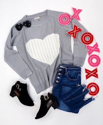 Gray Cozy Heart Sweater