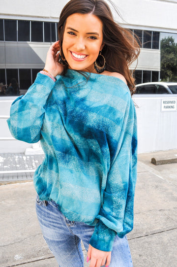 Teal Tie Dye Knot Front Top