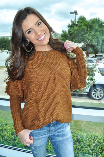 Toffee Pom Sleeve Knit Sweater