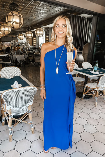 Cobalt One Shoulder Maxi