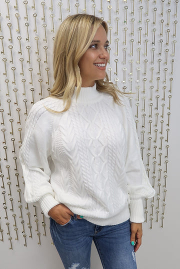 White Bubble Sleeve Sweater