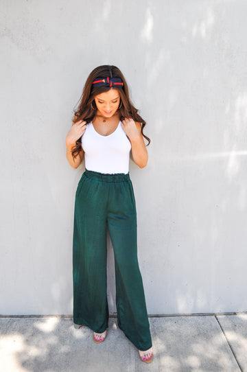 Emerald Satin Pants