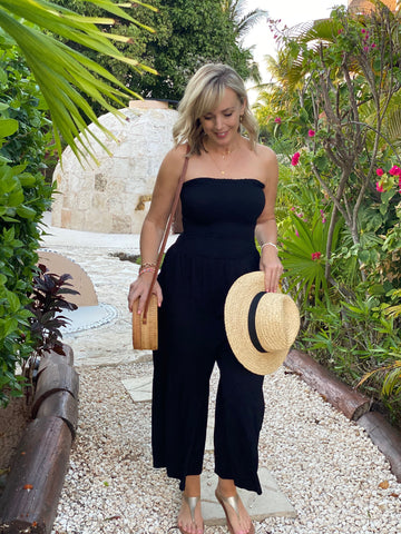 Smocked Strapless Black Jumper