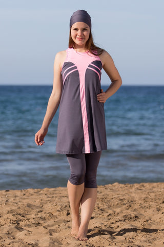 Adabkini Eylul, modest top and legging, 3-piece semi-covered swimwear w swimming cap, short leggings
