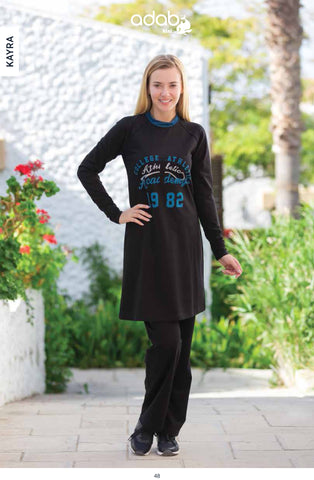 2017 Adabkini Kayra Sweatsuit with hoodi and pants, Covered Sweat Suit with Long Tunic