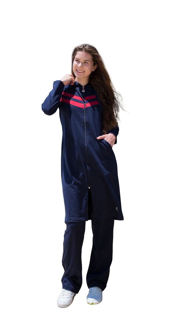 S, M Size - Adabkini Gunes Long Sweatsuit with overall and pants, excellent for muslim women for full-coverage - AdabKini