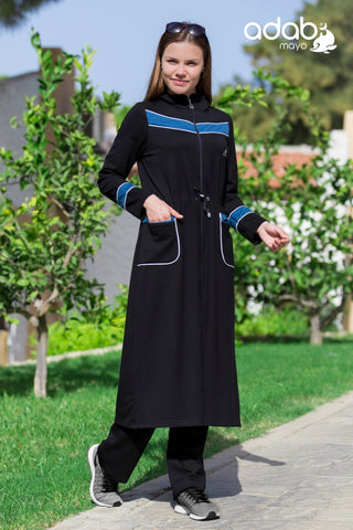 Adabkini Almira Sweatsuit with hoodi and pants, Islamic Covered Sweat Suit with Long Tunic