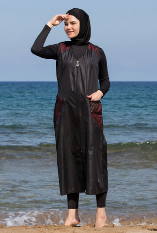 Adabkini Sila, our longest 5pc burkini, bathing suit, modest swimsuit