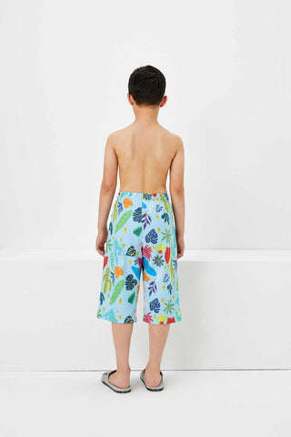 Utku Blue Patterned Boy's Swim Shorts