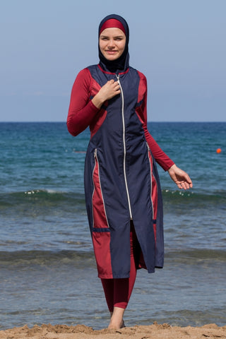 Adabkini Mira Muslim 5-piece Long Swimsuit Islamic Full Cover Modest Swimwear Burkini Bathing Suit Beachwear