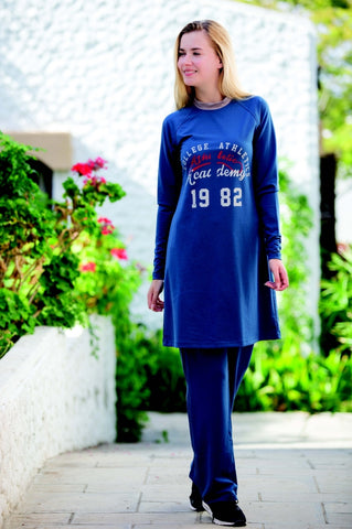 Adabkini Kayra Sweatsuit with hoodi and pants, Covered Sweat Suit with Long Tunic - AdabKini