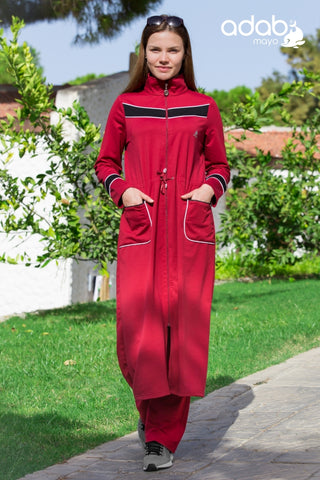 Adabkini Almira Sweatsuit with hoodi and pants, Islamic Covered Sweat Suit with Long Tunic - AdabKini