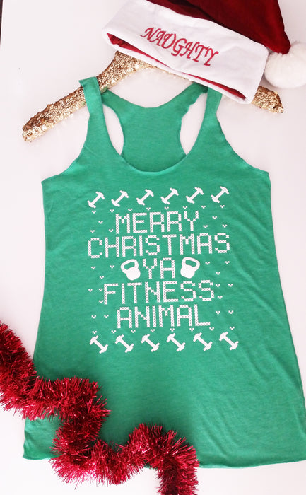 Merry Christmas Ya Fitness Animal Workout Tank. Christmas Bootcamp. Gym Tank. WOD. Fitness Tank. Exercise Tank. Cross Training Tank. Christmas Fitness Team