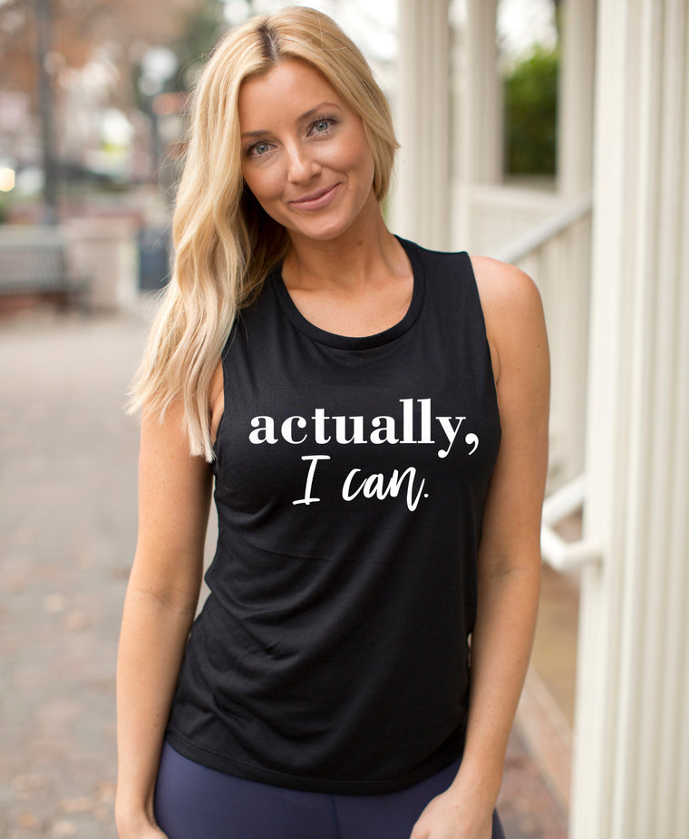Actually I Can Lifting Muscle Tank Top. Workout Tank. Girl Boss. Fitness Tank. Gym Shirt. Excersie Tank. Weight Lifting. Motivation.