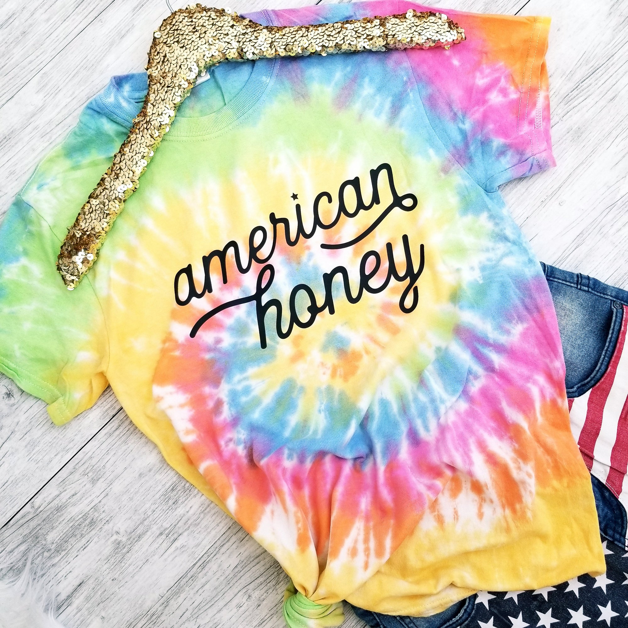 NEW Fourth of July. American Honey Tie Dye. Nature. Local Honey. Patriotic. 4th of July. USA. American. America. Country Fireworks. Tie Dye
