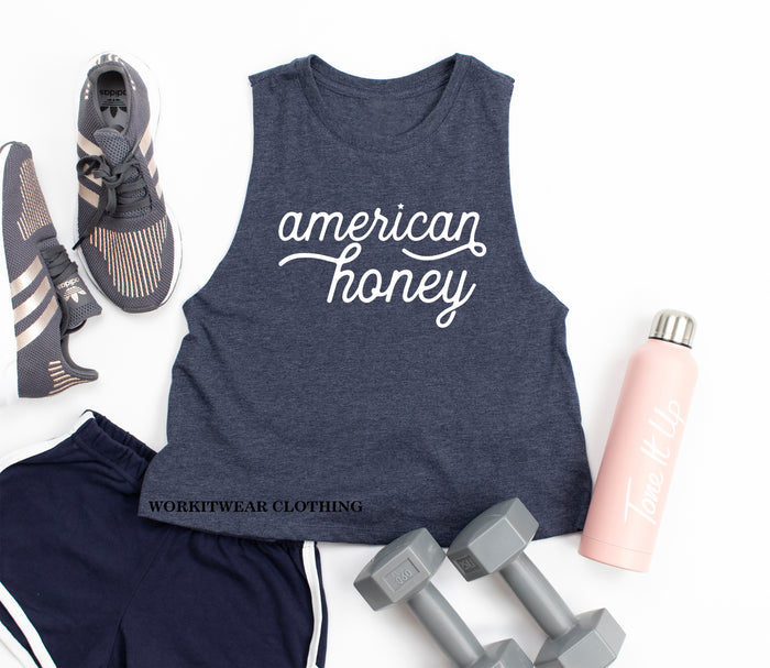 American Honey Crop Tank Top. Fourth of July. 4th of July. America. Patriotic AF. Red White Blessed. American Woman. USA. Murph. Country