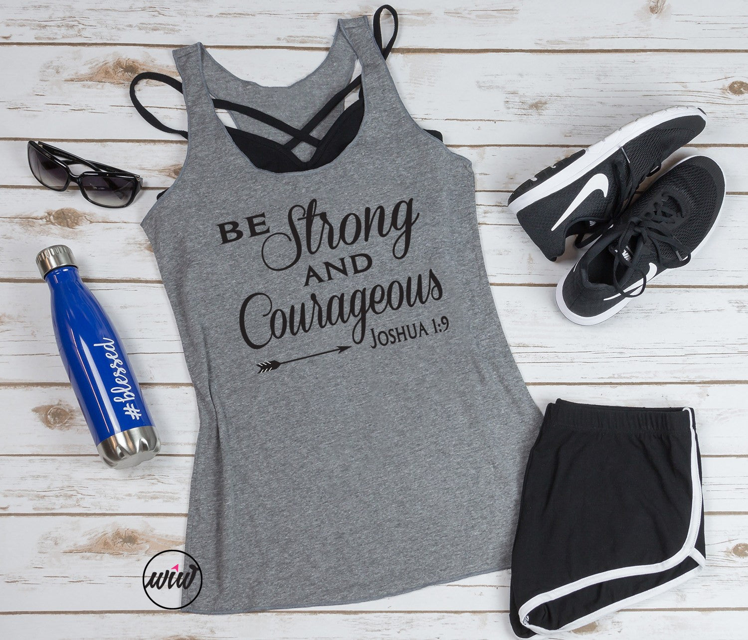 Be Strong and Courageous Tank Top. Wake Pray Slay. Inspirational Shirt. Workout Tank. Yoga Tank. Wonderfully Made. Faith Tank. Barre Tank. Joshua 1:9