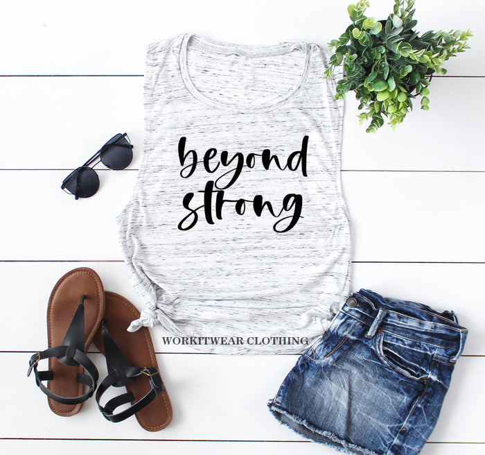 Beyond Strong© Motivation Tank Top. She Is Strong. God Goals. Christian Shirt. Fueled By Jesus Faith Fitness Grind. Workout Tank Inspiration