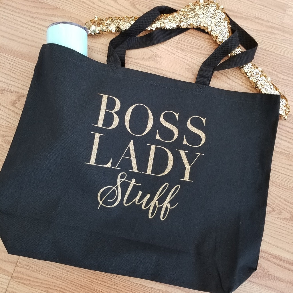 Boss Lady Stuff Tote. Girl Boss Tote. Gift for Her. Canvas Tote. Mail Day. Ceo Posh. Hey Girl Entrepreneur. GRL PWR Bag. Gold Glitter