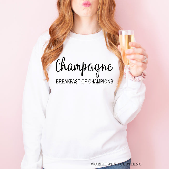 Champagne Breakfast Of Champions Sweatshirt. Always A Good Idea. Champagne Shirt. Brunch. Mimosas. Bachelorette Party. Girls Night.