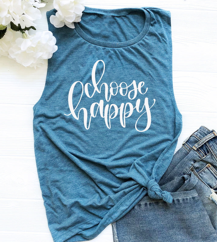 Choose Happy Muscle Tank Top. Yoga Tank. Workout Tank. Yoga Vest. Fitness Tank. Inspiration. Choose Joy Meditation. Namaste. Gym Shirt. Om Shirt.Yogi