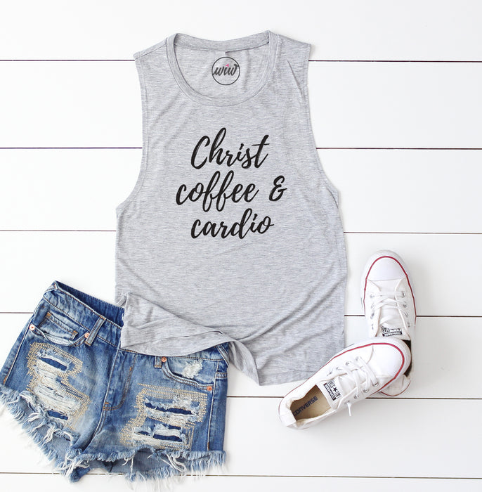 Christ Coffee Cardio. Christian Shirt. Fueled By Jesus and Coffee. Faith. Workout Tank. Fitness Tank. Inspiration.
