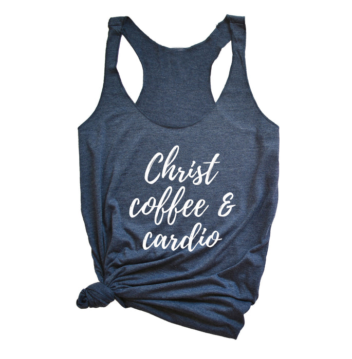 Christ Coffee Cardio Tank Top. Inspirational. Fitness Tank. Christian Shirt. Workout Shirt. Faith. Coffee Shirt. Fueled by Jesus Coffee