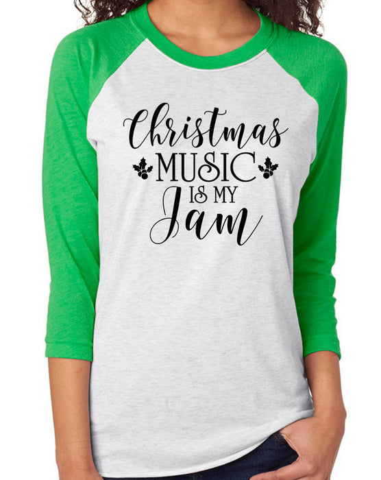 CHRISTMAS Music Is My Jam™Baseball Shirt. Music Lover. Freaking Merry. Jolly. Fa La La. Merry Christmas. Holiday Tee. Merry and Bright