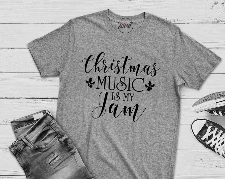 Christmas Music Is My Jam™. Freaking Jolly. Merry and Bright. Holiday Spirit. Loves Christmas. Tis The Season. Christmas Shirt. Holiday Tee. Merry Christmas