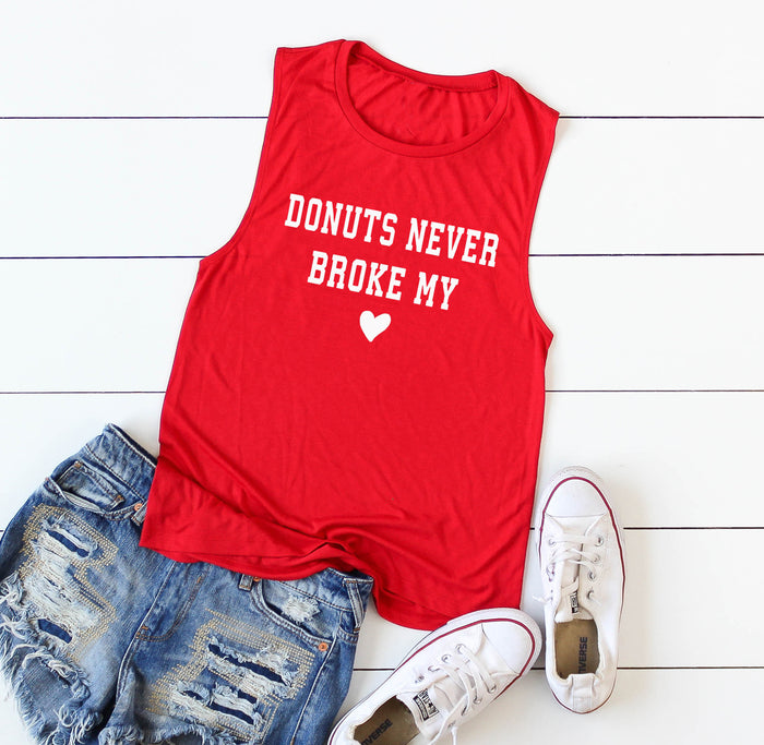 Donuts Never Broke My Heart. Love Donuts. Valentin'es Day. Fitness. Yoga Tank. Valentine Shirt. Love Running. Heart Shirt.