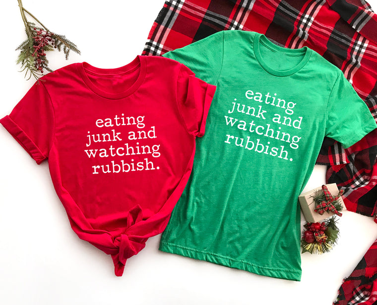 Eating Junk and Watching Rubbish Shirt. Christmas Shirt. Holiday Tee. Funny Home Alone. Funny Preggers. Funny Xmas