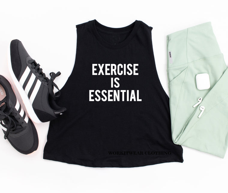Exercise Is Essential Crop Tank Top. Workout Shirt. Gym Shirt. Exercise Shirt. Fitness Tank.
