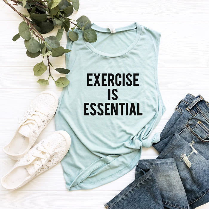 Exercise Is Essential© Muscle Tank Top. Workout Tank. Fitness Tank. Gym Shirt. Running Essential. Exercise Tank. Essential Shirt