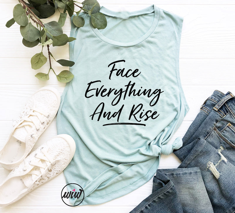 FEAR Face Everything And Rise Muscle Tank Top. Inspiration. Fitness Tank. Workout Tank. Faith. Fearless. Christian Tank. Spiritual. Yoga.