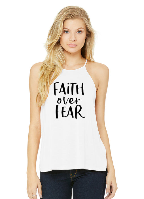 Faith Over Fear Tank Top. High Neck Flowy Tank. Christian Tank. Inspirational. Yoga.  Faith Shirt. Salt Light. Religious Shirt. Motivation. Workout