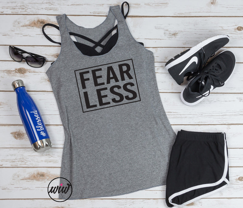 Fear Less Tank Top. Girl Boss. Team Shirt. Coach Shirt. Workout Tank. Yoga. Fitness Tank. Faith Christian Shirt. GRL PWR. She Is Strong.