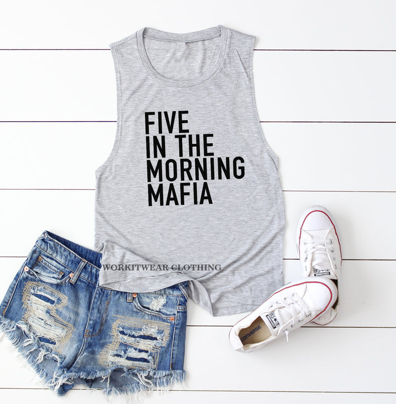 Five In The Morning Mafia. Workout Tank. 5AM Crew. Yoga. Spinbabe. Pilates. Fitness Tank Gym Shirt Exercise Tank. Five Crew. Rise and Shine