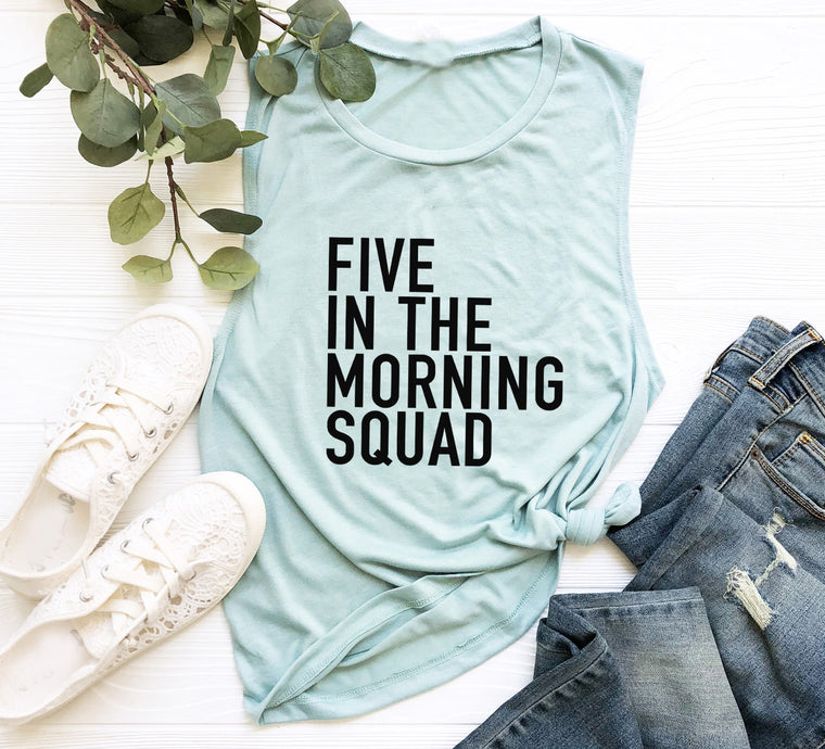 Five In The Morning Squad. 5AM Crew. Fitness Tank. Workout Tank. Gym Shirt. Exercise Tank. Spin. Barre. Yoga.