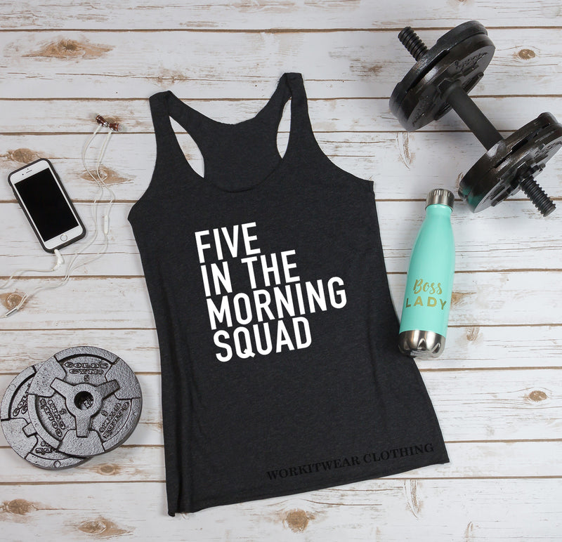 Five In The Morning Squad. Workout Tank. 5AM Crew. Yoga. Spinbabe. Pilates. Fitness Tank Gym Shirt Exercise Tank. Five Crew. Five Mafia.