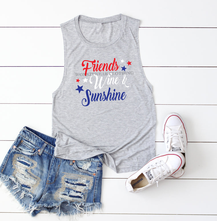 Friends Wine Sunshine. Fourth Of July. America. Patriotic. 4th of July. Summer Tank. Merica. Oh My Stars