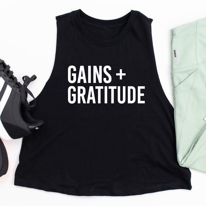 Gains and Gratitude Crop Tank Top. Fitness Tank. Workout Tank. Exercise. Gym
