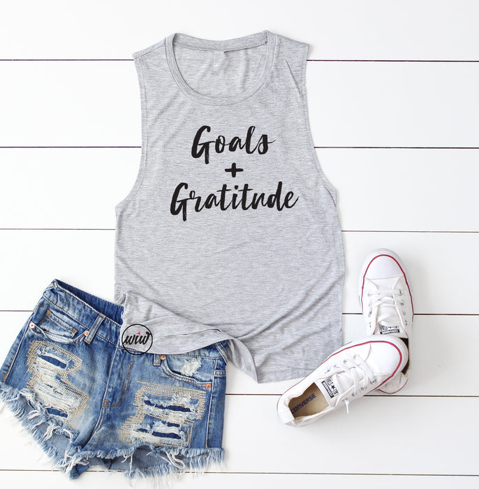 Goals and Gratitude Muscle Tank. Girl Boss. Hustle. Goals. Women's Workout Tank. Fitness Tank. Motivation. Yoga. Gym Tank. Goals Greater.