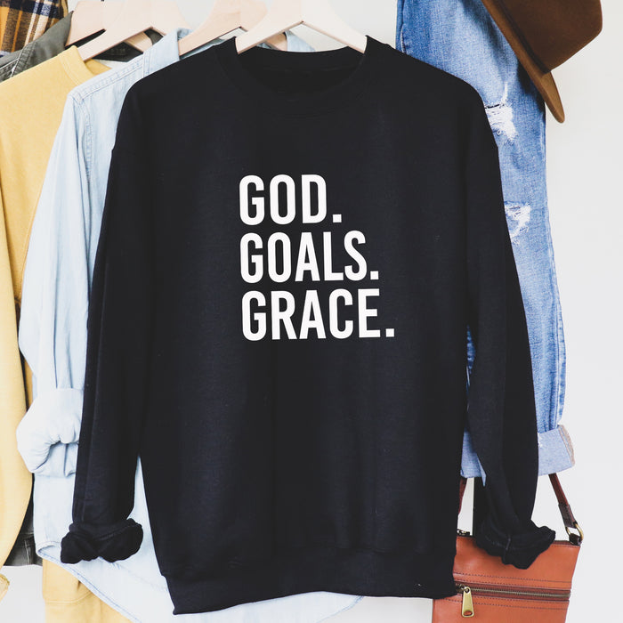 GOD Goals Grace Boyfriend Sweatshirt. Grace and Grit. Faith and Fitness. Christian Shirt. Goal Getter. Fueled by Jesus. Proverbs. Girl Boss