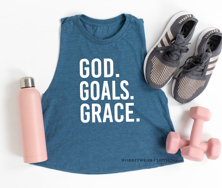 GOD GOALS GRACE Crop Tank. Fueled By Jesus. God Goals Grind Faith. Workout Tank. Fitness Tank. Inspiration. She Is Strong. Grit and Grace.