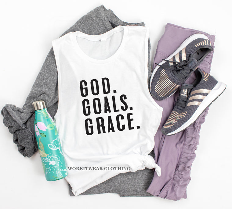 GOD GOALS GRACE. Motivation. Christian Shirt. Fueled By Jesus. God Goals Grind Faith. Workout Tank. Fitness Tank. Inspiration. Love Jesus